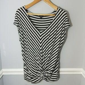 Black & White Striped Torrid Cap Sleeve Top